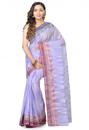Handloom Cotton Tant Saree in Light Purple and Off White