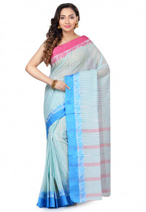 Handloom Cotton Tant Saree in Light Teal Green and Off White