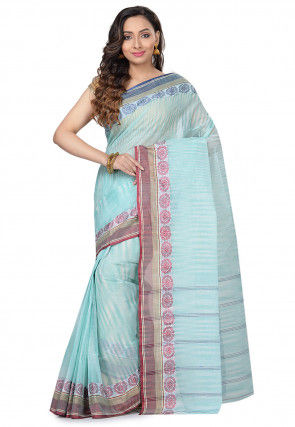 Handloom Cotton Tant Saree in Light Teal Green