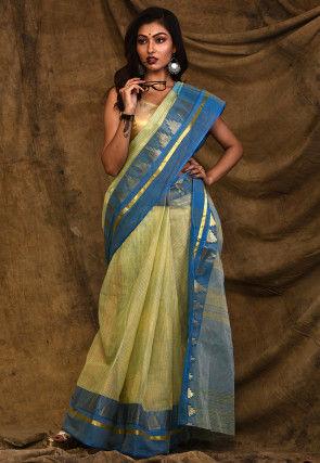 Handloom Cotton Tant Saree in Light Yellow
