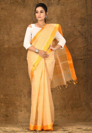 Handloom Cotton Tant Saree in Light Yellow