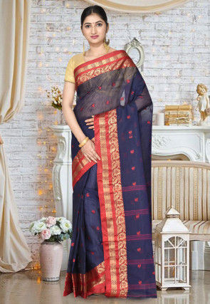 Handloom Cotton Tant Saree in Navy Blue
