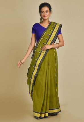 Handloom Cotton Tant Saree in Olive Green