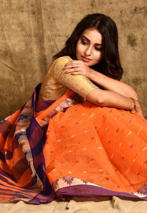 Handloom Cotton Tant Saree in Orange