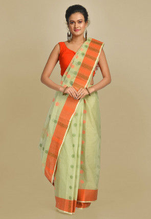 Handloom Cotton Tant Saree in Pastel Green