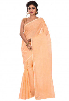 Handloom Cotton Tant Saree in Peach