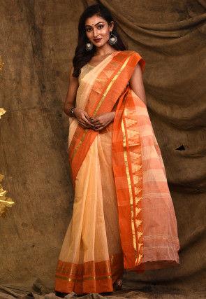 Handloom Cotton Tant Saree in Peach