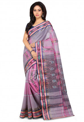 Handloom Cotton Tant Saree in Pink and Grey
