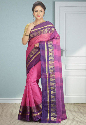 Handloom Cotton Tant Saree in Pink