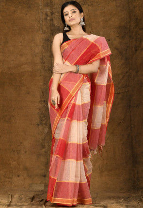 Handloom Cotton Tant Saree in Red and Off White