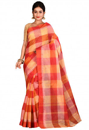 Handloom Cotton Tant Saree in Red and Yellow