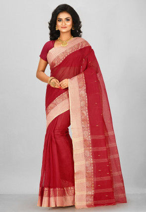 Handloom Cotton Tant Saree in Red