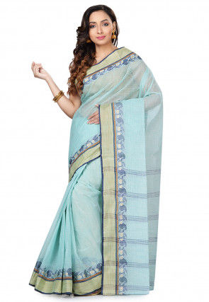 Handloom Cotton Tant Saree in Sky Blue