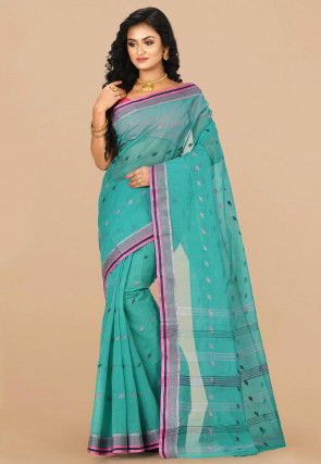 Handloom Cotton Tant Saree in Teal Blue