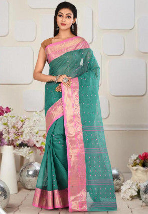 Handloom Cotton Tant Saree in Teal Green