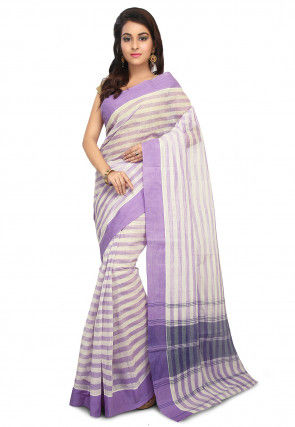 Handloom Cotton Tant Saree in White and Purple