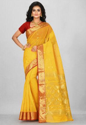 Handloom Cotton Tant Saree in Yellow