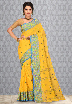 Handloom Cotton Tant Saree in Yellow