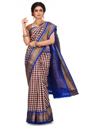 Handloom Gadwal Silk Saree in Brown and Off White