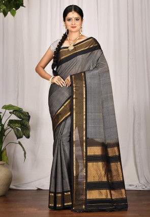 Handloom Gadwal Silk Saree in Grey