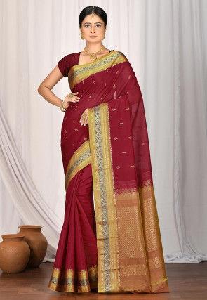 Handloom Gadwal Silk Saree in Maroon