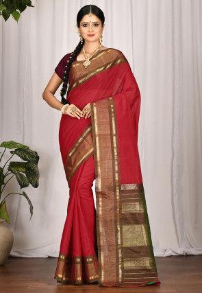 Handloom Gadwal Silk Saree in Red