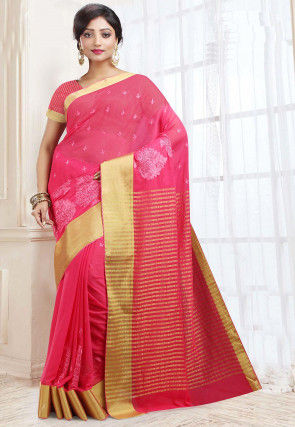 Handloom Georgette Saree in Fuchsia