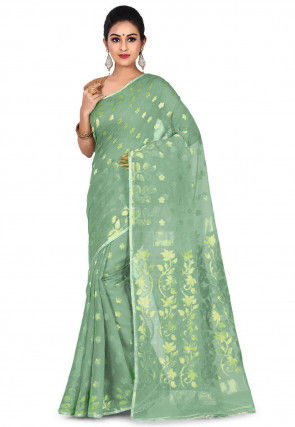 Handloom Jamdani Cotton Saree in Sea Green