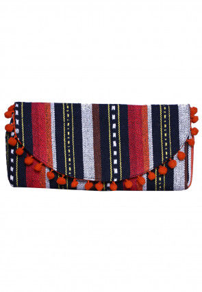 Handloom Jute Fanny Pack (Waist Pouch) in Red and Black