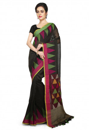 Handloom Linen Jamdani Saree in Black