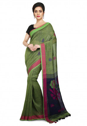 Handloom Linen Jamdani Saree in Light Green