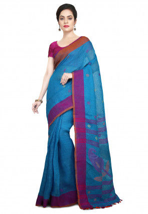 Handloom Linen Jamdani Saree in Sky Blue