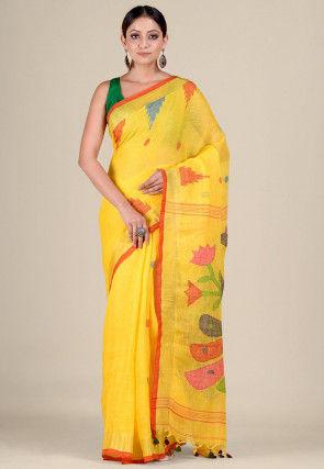 Handloom Linen Jamdani Saree in Yellow
