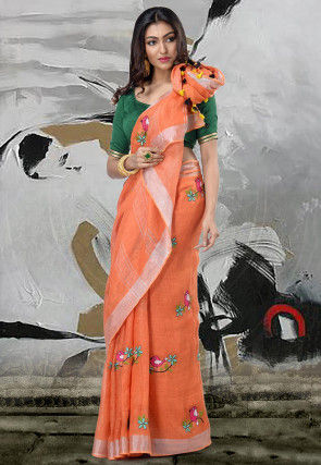 Handloom Linen Saree in Orange