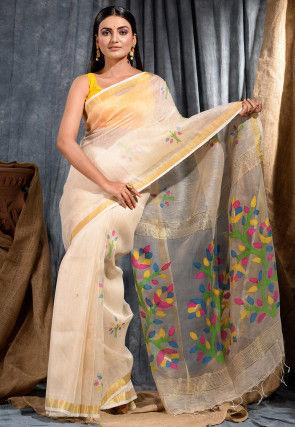 Handloom Linen Silk Jamdani Saree in Cream