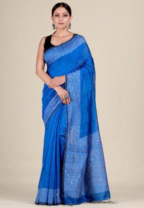 Handloom Matka Silk Jamdani Saree in Blue