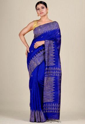 Handloom Matka Silk Jamdani Saree in Royal Blue