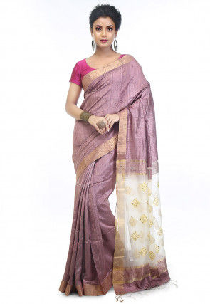 Handloom Matka Silk Saree in Light Purple