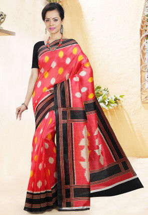 Handloom Printed Cotton Saree in Coral Red