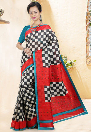 Handloom Printed Cotton Saree in Off White and Black