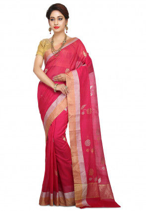 Handloom Pure Chanderi Silk Saree in Fuchsia