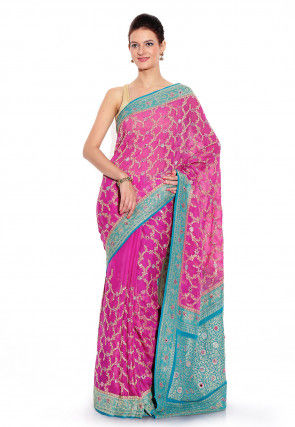 Handloom Pure Chiffon Saree in Pink