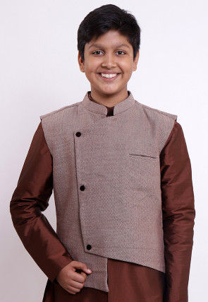 Handloom Pure Cotton Asymmetric Nehru Jacket in Fawn
