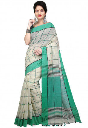 Handloom Pure Cotton Saree in Cream