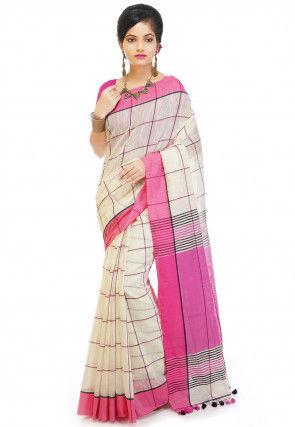 Handloom Pure Cotton Saree in Cream