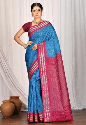 Handloom Pure Gadwal Silk Saree in Blue
