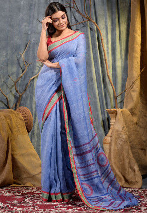 Handloom Pure Linen Jamdani Saree in Blue