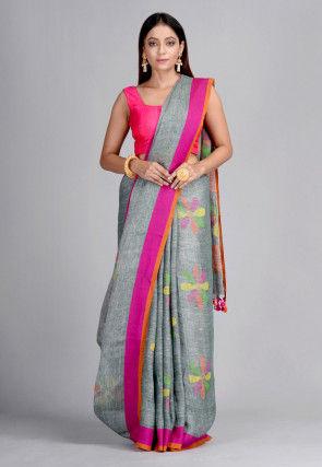 Handloom Pure Linen Jamdani Saree in Grey