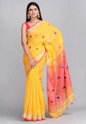 Handloom Pure Linen Jamdani Saree in Yellow