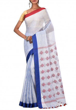 Handloom Pure Linen Saree in Sky Blue